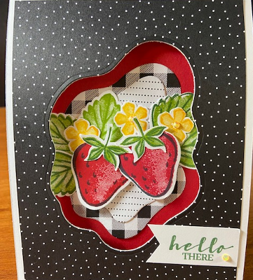 Sweet Strawberry Vertical Trifold Window Card